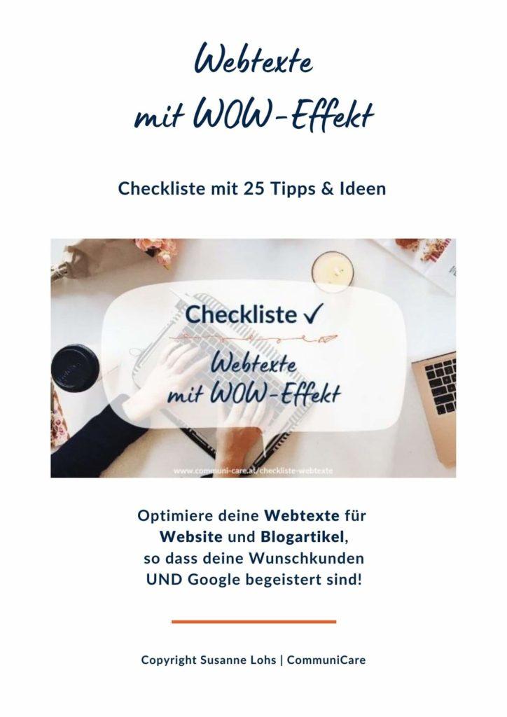 Titelblatt Checkliste Webtexte mit WOW-Effekt