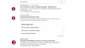Personal Training Suchergebnisse auf Google