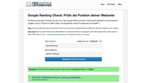 Platz 1 im Google Ranking Check für Personal Trainer