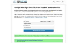 Platz 1 im Google Ranking Check für Personal Training