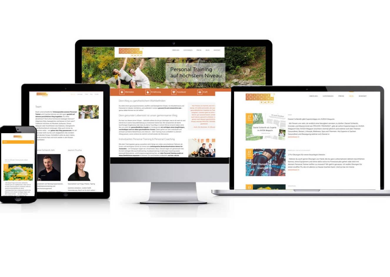 Website-Texte, Blogartikel und Projektmanagement für die Website www.private-training.at