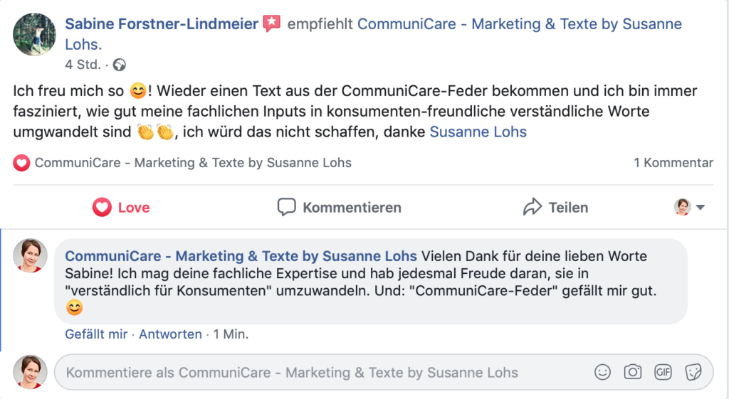 """Rezension von Sabine Forstner, Optometristin: """"Ich freu mich so! Wieder einen Text aus der CommuniCare-Feder bekommen und ich bin immer fasziniert, wie gut meine fachlichen Inputs in konsumentenfreundliche, verständliche Worte umgewandelt sind. Ich würde das nicht schaffen – danke!"""""""