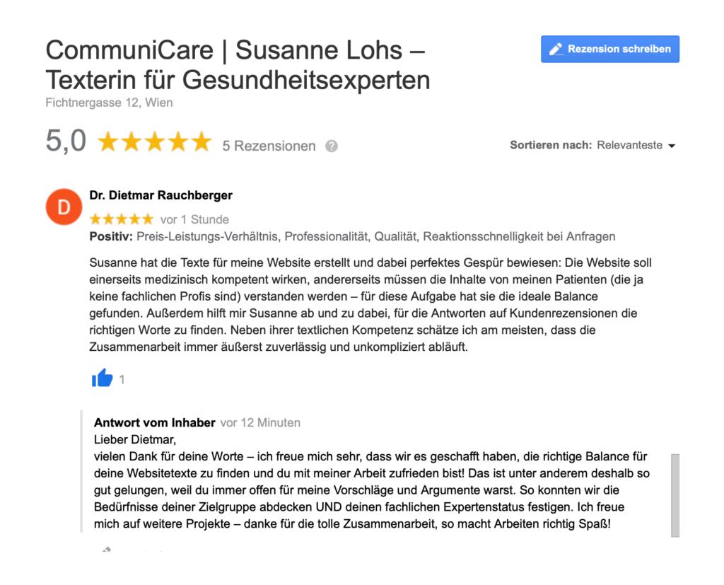 5-Sterne Bewertung auf Google von Urologe Dr. Dietmar Rauchberger