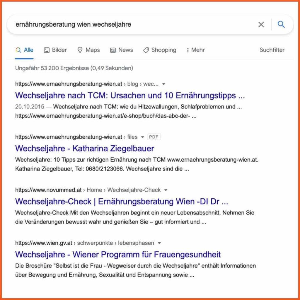 SEO Texte schreiben: Beispiel Suchergebnisse für Suchanfrage Ernährungsberatung Wien Wechseljahre