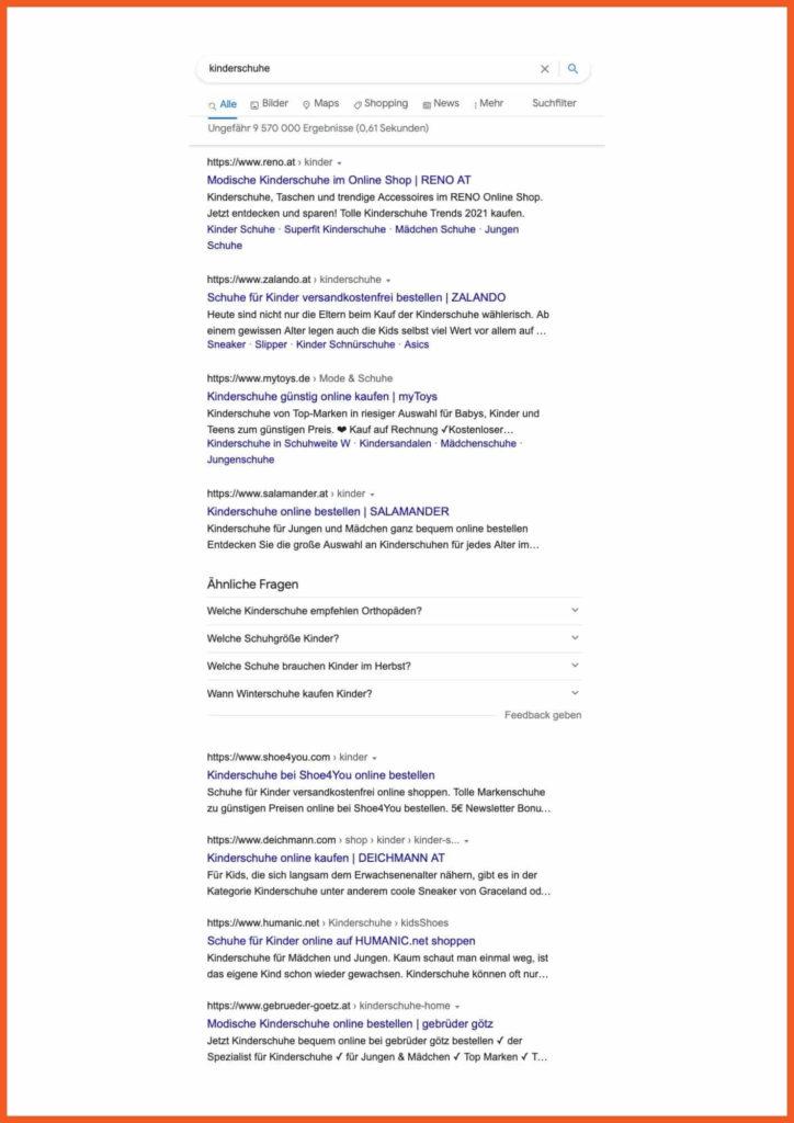 SEO Texte schreiben: Screenshot einer Search Engine Result Page (SERP)